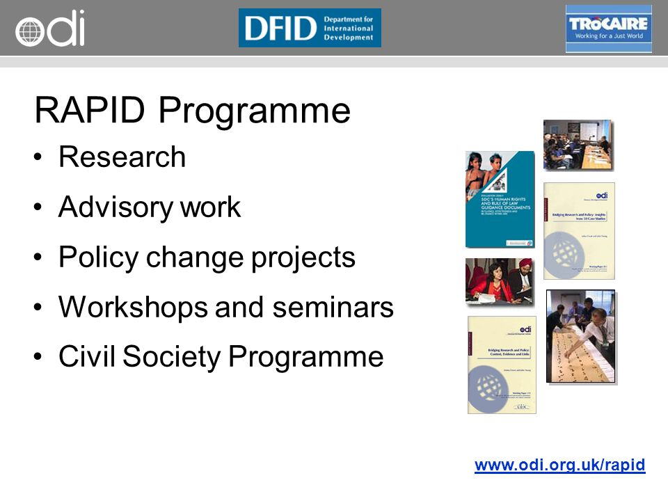 RAPID Programme Research Advisory work Policy change projects Workshops and seminars Civil Society Programme