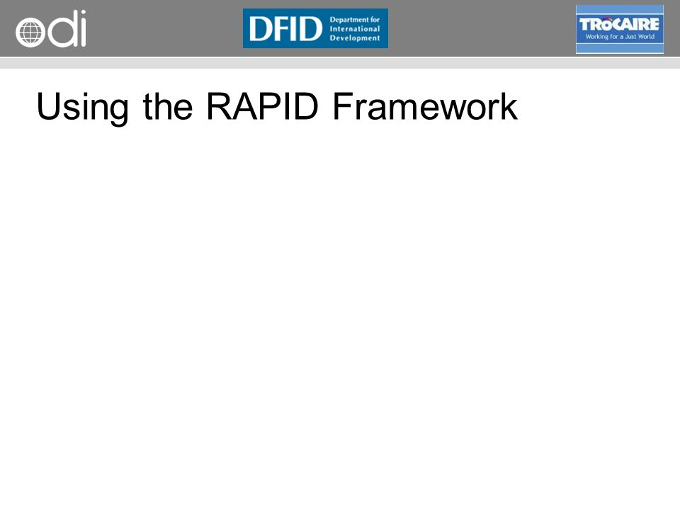 RAPID Programme Using the RAPID Framework