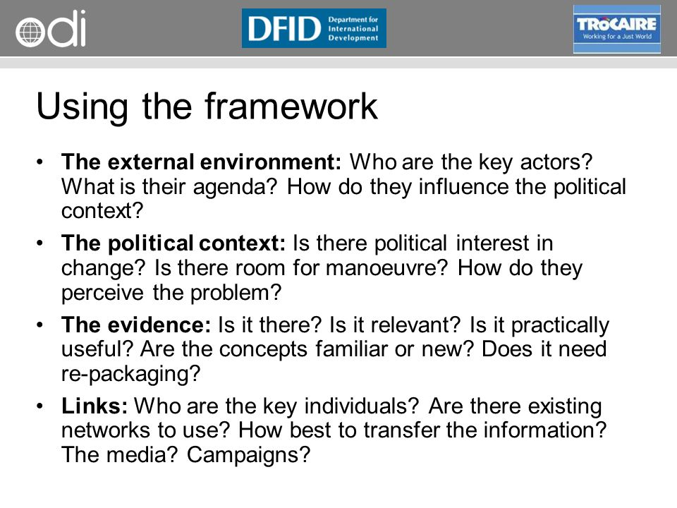 RAPID Programme Using the framework The external environment: Who are the key actors.