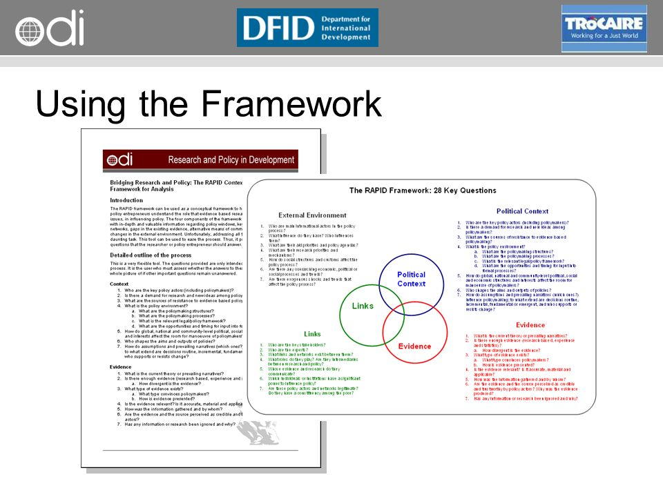 RAPID Programme Using the Framework