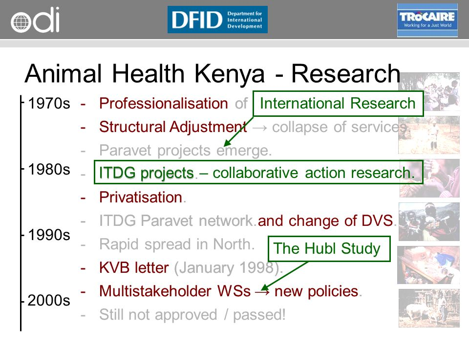 RAPID Programme Animal Health Kenya - Research 1970s 1980s 1990s 2000s ­Professionalisation of Public Services.