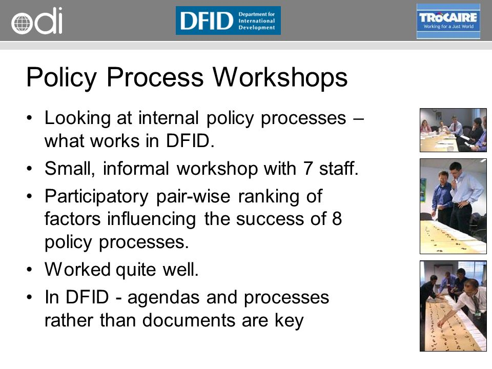 RAPID Programme Policy Process Workshops Looking at internal policy processes – what works in DFID.