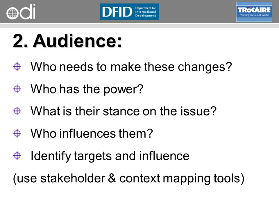 RAPID Programme 2. Audience: Who needs to make these changes.