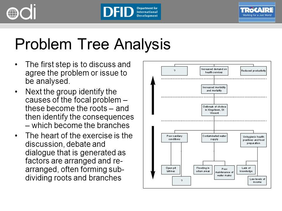 RAPID Programme Problem Tree Analysis The first step is to discuss and agree the problem or issue to be analysed. Next the group identify the causes o