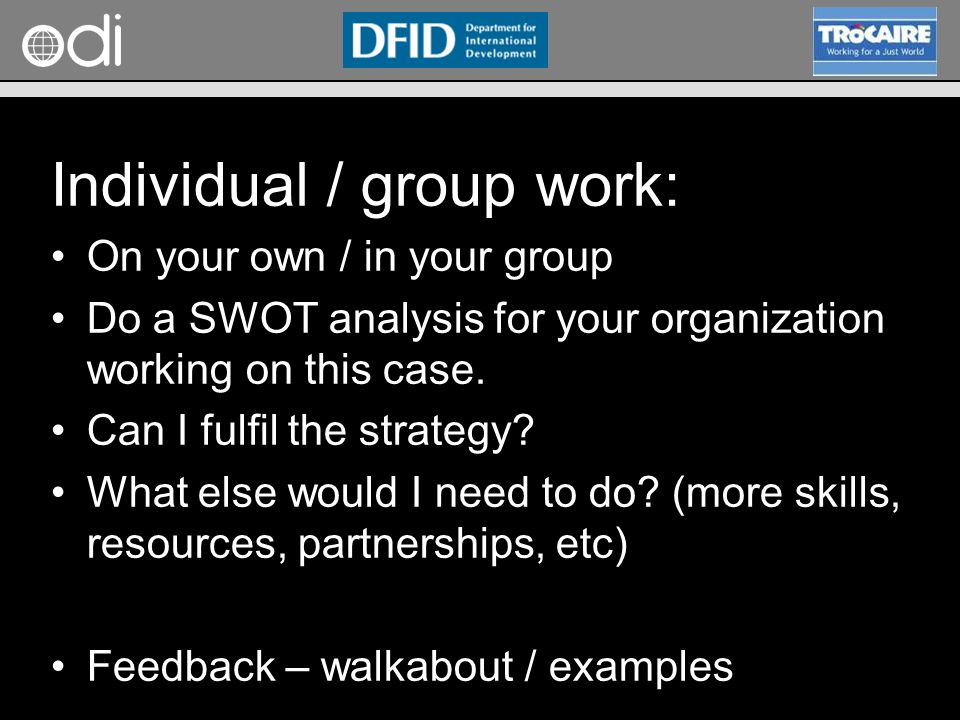 RAPID Programme Individual / group work: On your own / in your group Do a SWOT analysis for your organization working on this case. Can I fulfil the s