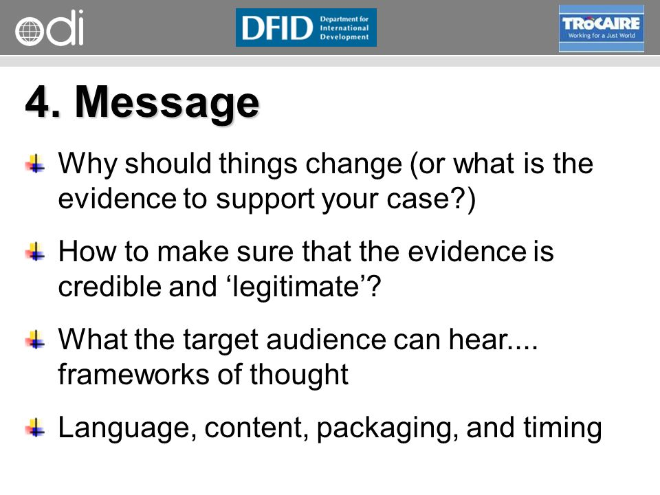 RAPID Programme 4. Message Why should things change (or what is the evidence to support your case?) How to make sure that the evidence is credible and