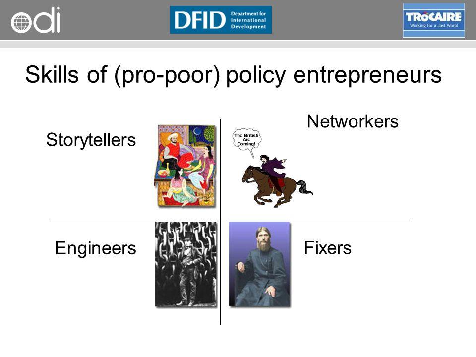 RAPID Programme Skills of (pro-poor) policy entrepreneurs Storytellers Engineers Networkers Fixers