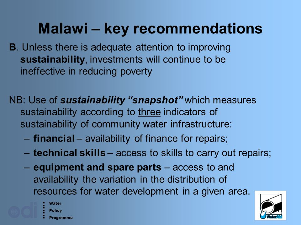 Water Policy Programme 11 Malawi – key recommendations B.