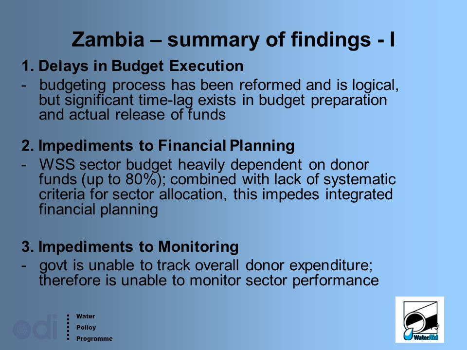 Water Policy Programme 19 Zambia – summary of findings - I 1.
