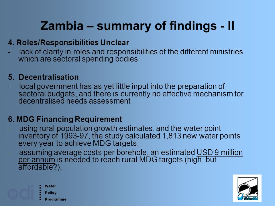 Water Policy Programme 20 Zambia – summary of findings - II 4.