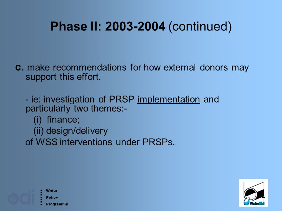 Water Policy Programme 4 Phase II: 2003-2004 (continued) c.
