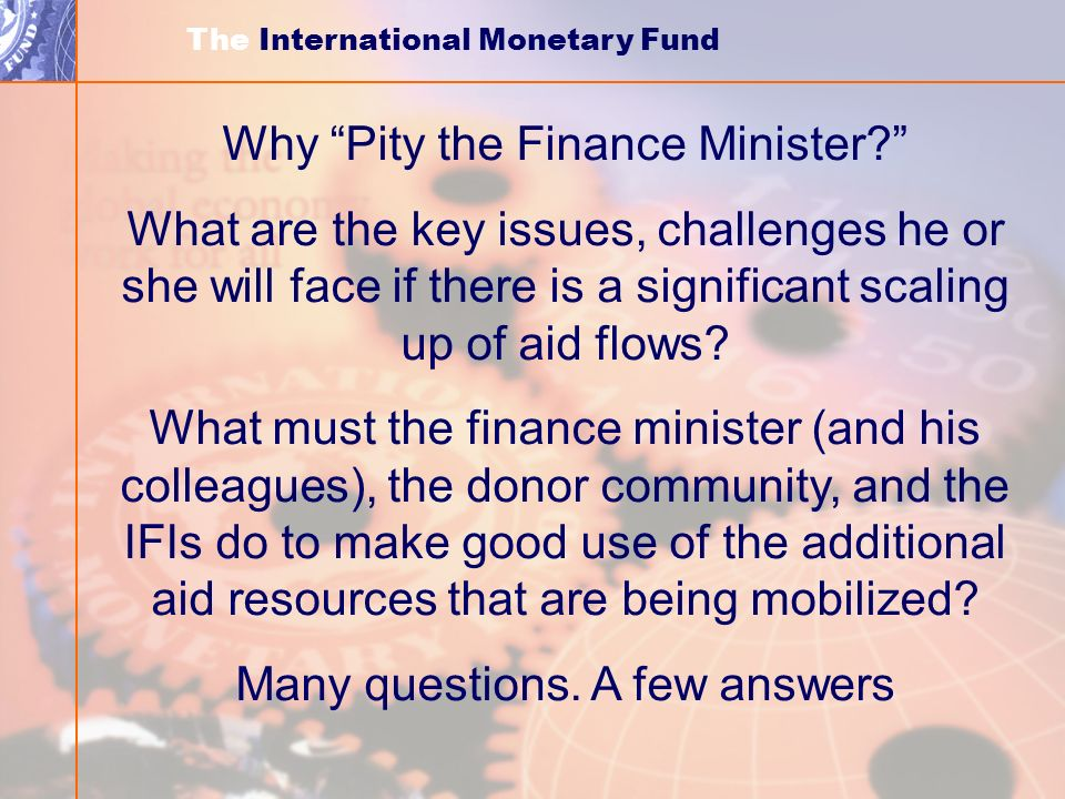 Why Pity the Finance Minister.