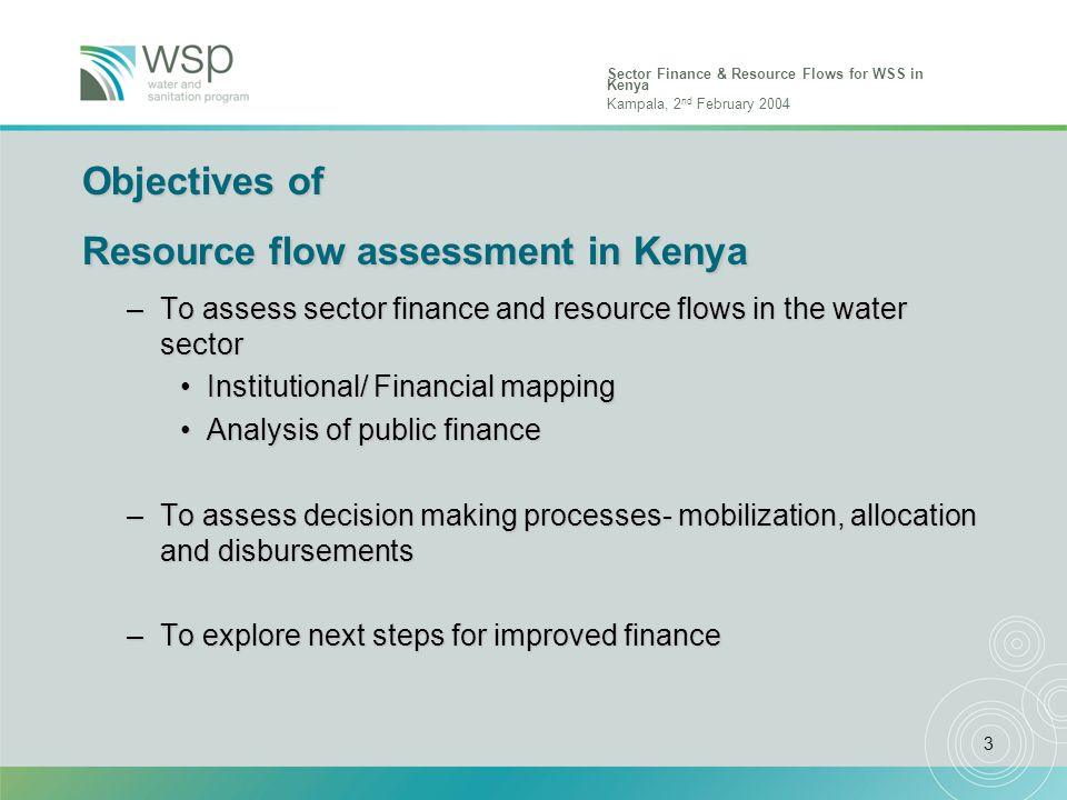 Sector Finance & Resource Flows for WSS in Kenya Kampala, 2 nd February 2004 3 Objectives of Resource flow assessment in Kenya –To assess sector finan