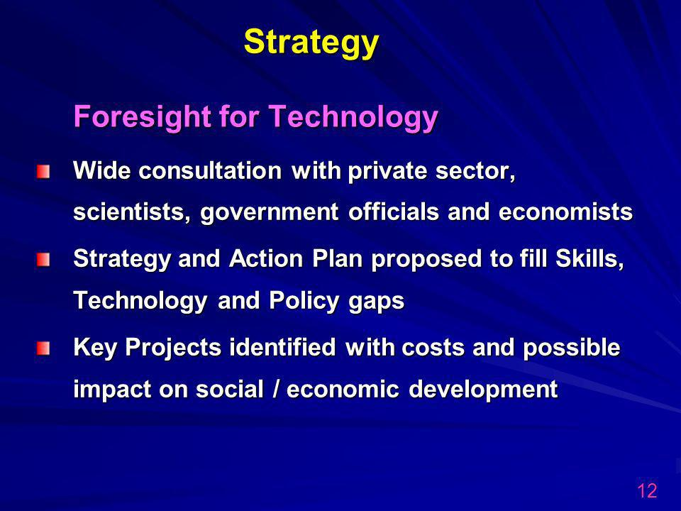 Strategy Foresight for Technology Strategy Foresight for Technology Wide consultation with private sector, scientists, government officials and economists Strategy and Action Plan proposed to fill Skills, Technology and Policy gaps Key Projects identified with costs and possible impact on social / economic development 12