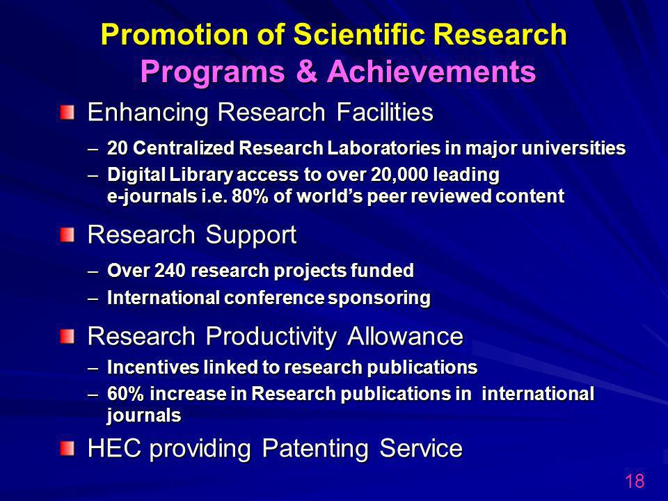 Promotion of Scientific Research Programs & Achievements Enhancing Research Facilities –20 Centralized Research Laboratories in major universities –Digital Library access to over 20,000 leading e-journals i.e.