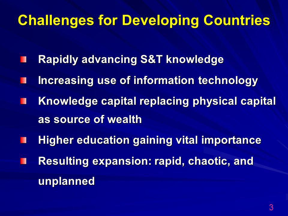 Challenges for Developing Countries Rapidly advancing S&T knowledge Increasing use of information technology Knowledge capital replacing physical capital as source of wealth Higher education gaining vital importance Resulting expansion: rapid, chaotic, and unplanned 3