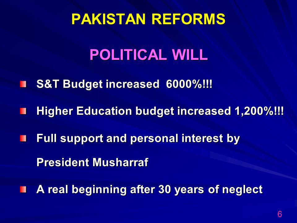 PAKISTAN REFORMS POLITICAL WILL S&T Budget increased 6000%!!.