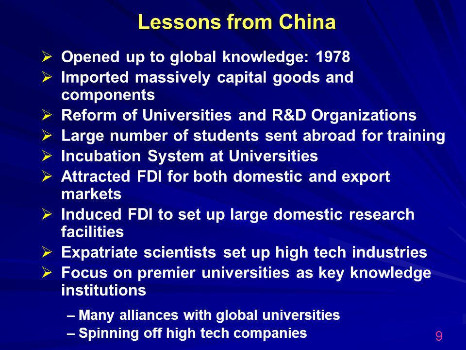 Lessons from China Opened up to global knowledge: 1978 Imported massively capital goods and components Reform of Universities and R&D Organizations Large number of students sent abroad for training Incubation System at Universities Attracted FDI for both domestic and export markets Induced FDI to set up large domestic research facilities Expatriate scientists set up high tech industries Focus on premier universities as key knowledge institutions – Many alliances with global universities – Spinning off high tech companies 9