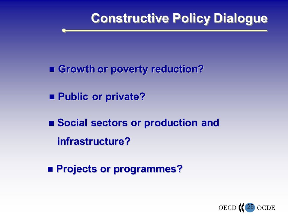 25 Constructive Policy Dialogue Growth or poverty reduction.