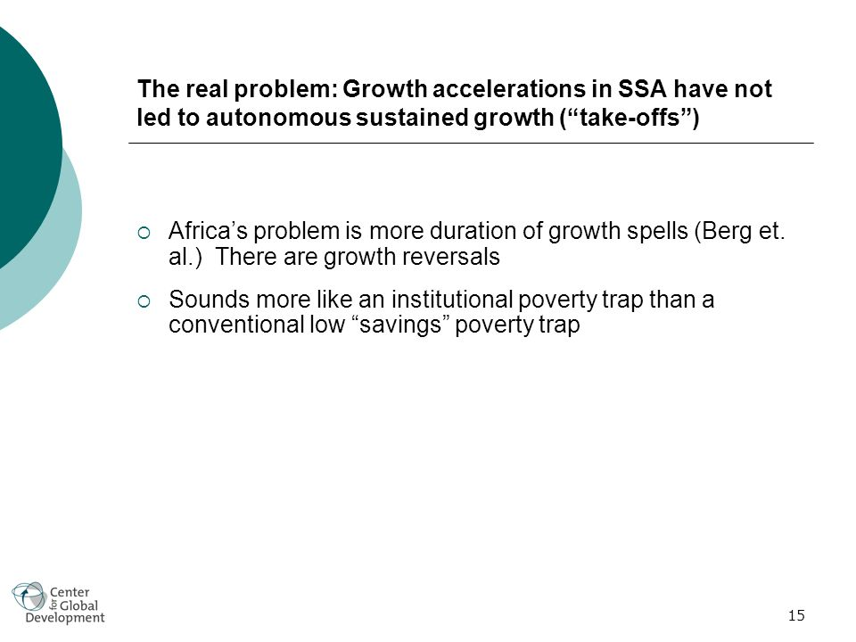 15 The real problem: Growth accelerations in SSA have not led to autonomous sustained growth (take-offs) Africas problem is more duration of growth spells (Berg et.