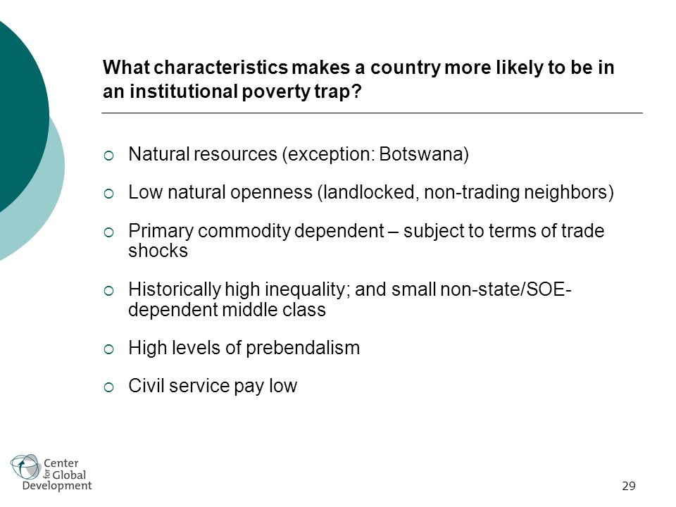29 What characteristics makes a country more likely to be in an institutional poverty trap.