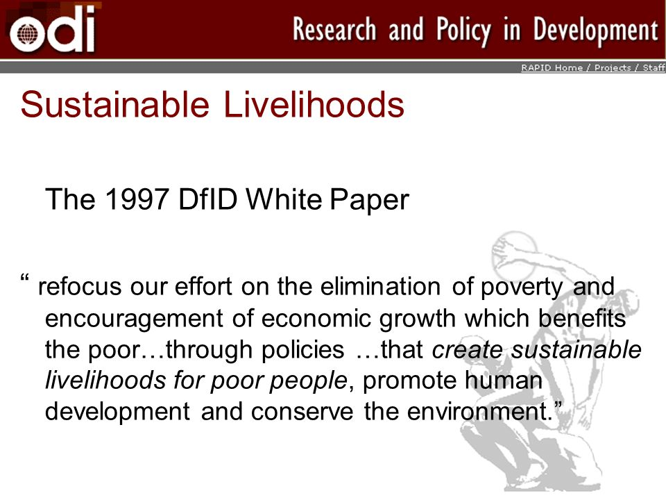 Sustainable Livelihoods The 1997 DfID White Paper refocus our effort on the elimination of poverty and encouragement of economic growth which benefits the poor…through policies …that create sustainable livelihoods for poor people, promote human development and conserve the environment.