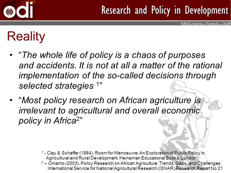 Reality The whole life of policy is a chaos of purposes and accidents.