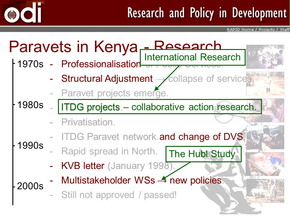 Paravets in Kenya - Research 1970s 1980s 1990s 2000s ­Professionalisation of Public Services.