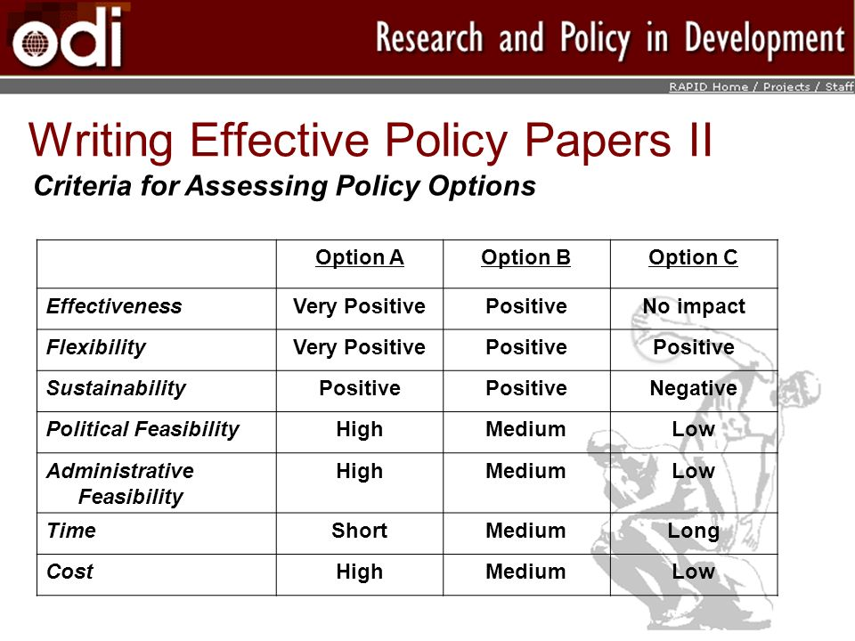 Writing Effective Policy Papers II Option AOption BOption C EffectivenessVery PositivePositiveNo impact FlexibilityVery PositivePositive SustainabilityPositive Negative Political FeasibilityHighMediumLow Administrative Feasibility HighMediumLow TimeShortMediumLong CostHighMediumLow Criteria for Assessing Policy Options