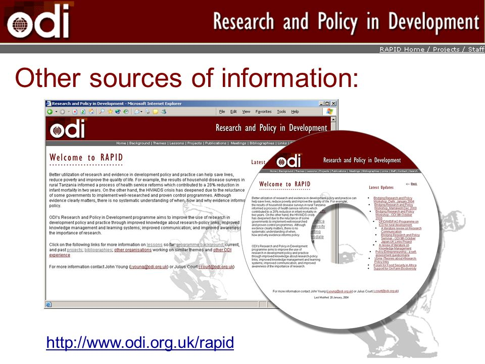Other sources of information: http://www.odi.org.uk/rapid