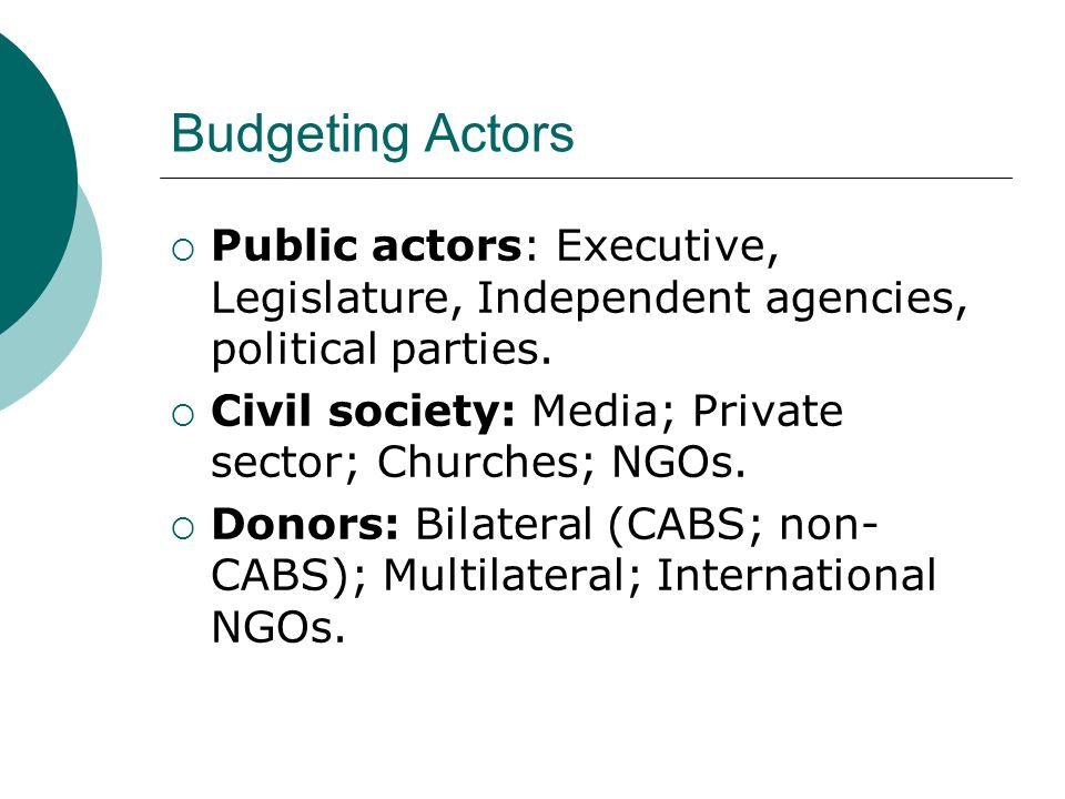 Budgeting Actors Public actors: Executive, Legislature, Independent agencies, political parties. Civil society: Media; Private sector; Churches; NGOs.