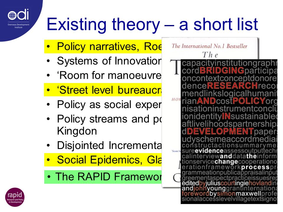 The RAPID Framework Existing theory – a short list Policy narratives, Roe Systems of Innovation Model, (NSI) Room for manoeuvre, Clay & Schaffer Stree