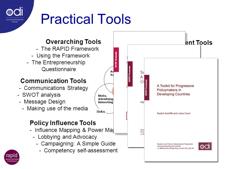 Practical Tools Overarching Tools - The RAPID Framework - Using the Framework - The Entrepreneurship Questionnaire Context Assessment Tools - Stakehol