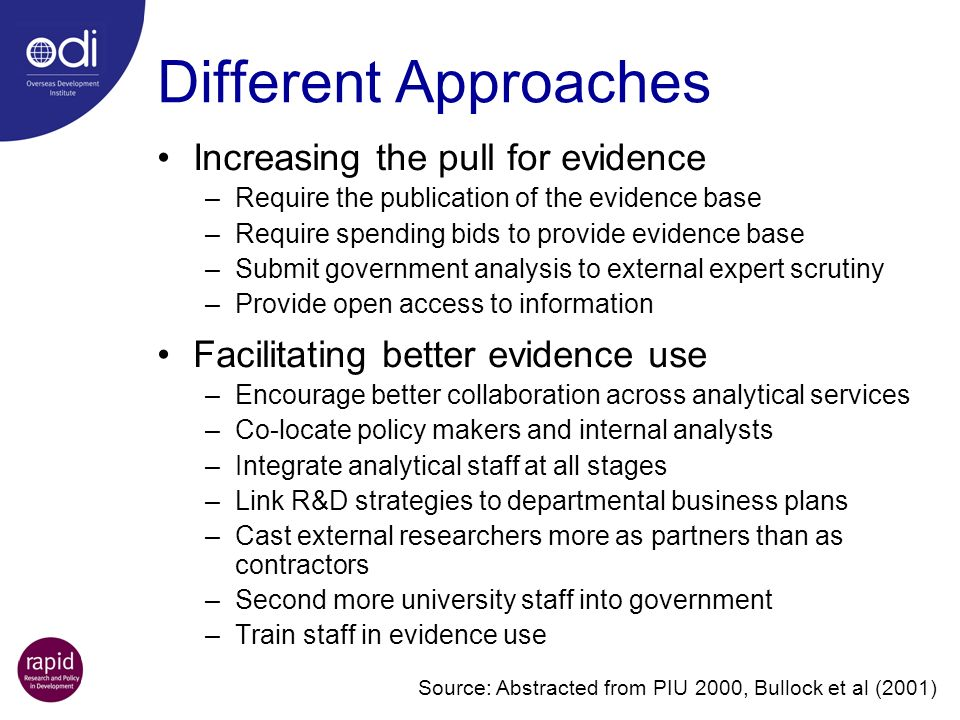 Increasing the pull for evidence –Require the publication of the evidence base –Require spending bids to provide evidence base –Submit government anal