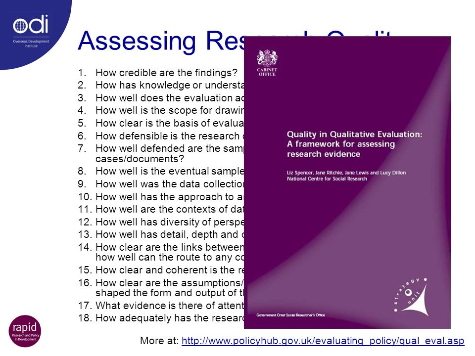 Assessing Research Quality 1.How credible are the findings? 2.How has knowledge or understanding been extended by the research? 3.How well does the ev