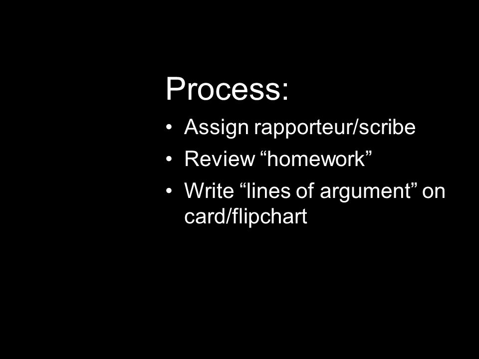 Process: Assign rapporteur/scribe Review homework Write lines of argument on card/flipchart