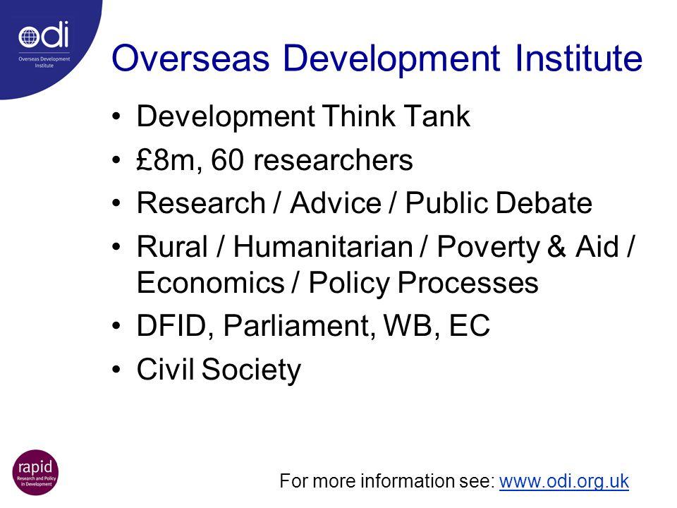 Overseas Development Institute Development Think Tank £8m, 60 researchers Research / Advice / Public Debate Rural / Humanitarian / Poverty & Aid / Eco