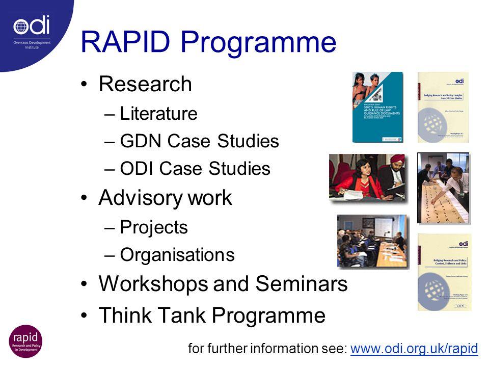 RAPID Programme Research –Literature –GDN Case Studies –ODI Case Studies Advisory work –Projects –Organisations Workshops and Seminars Think Tank Prog