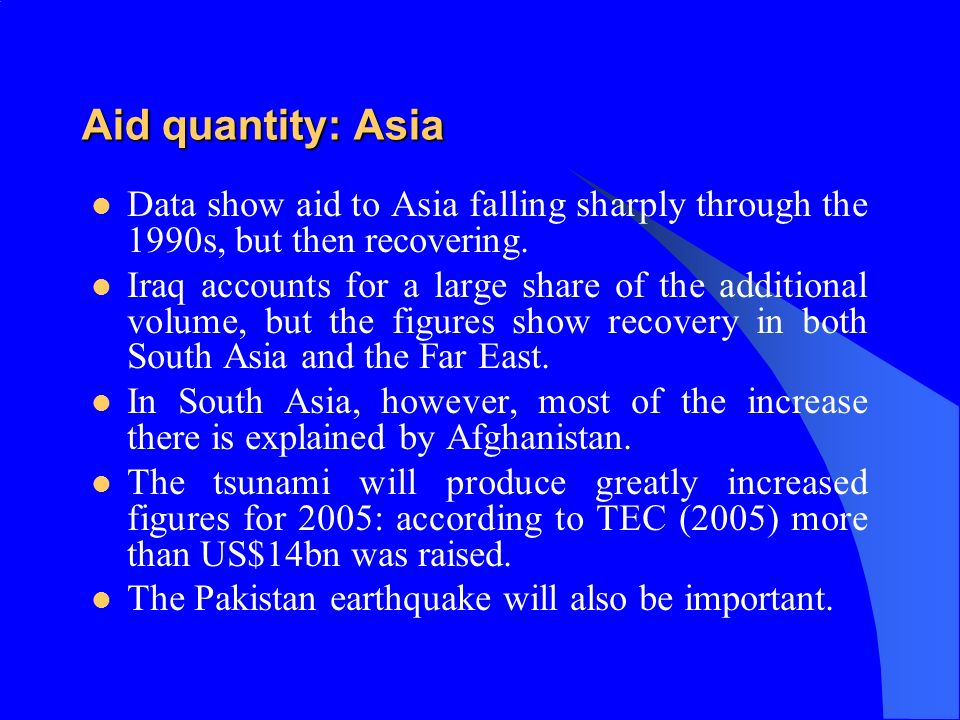 Aid quantity: Asia Data show aid to Asia falling sharply through the 1990s, but then recovering.