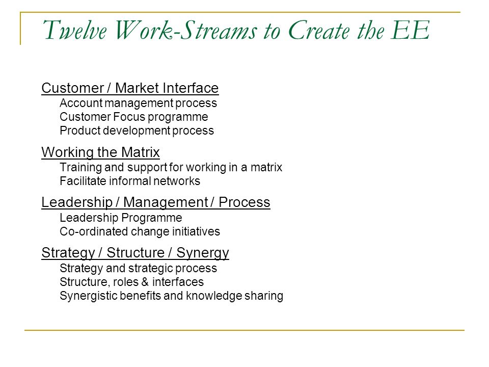 Twelve Work-Streams to Create the EE Customer / Market Interface Account management process Customer Focus programme Product development process Working the Matrix Training and support for working in a matrix Facilitate informal networks Leadership / Management / Process Leadership Programme Co-ordinated change initiatives Strategy / Structure / Synergy Strategy and strategic process Structure, roles & interfaces Synergistic benefits and knowledge sharing