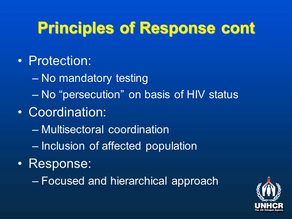 Principles of Response cont Protection: –No mandatory testing –No persecution on basis of HIV status Coordination: –Multisectoral coordination –Inclusion of affected population Response: –Focused and hierarchical approach