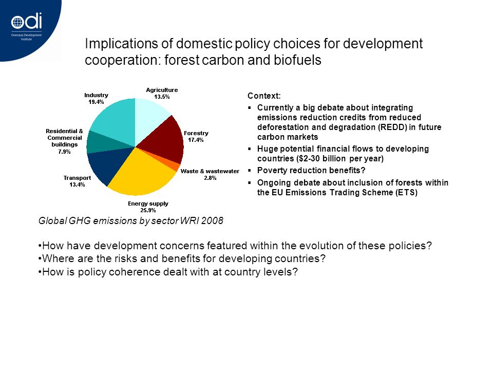 Implications of domestic policy choices for development cooperation: forest carbon and biofuels Context: Currently a big debate about integrating emissions reduction credits from reduced deforestation and degradation (REDD) in future carbon markets Huge potential financial flows to developing countries ($2-30 billion per year) Poverty reduction benefits.