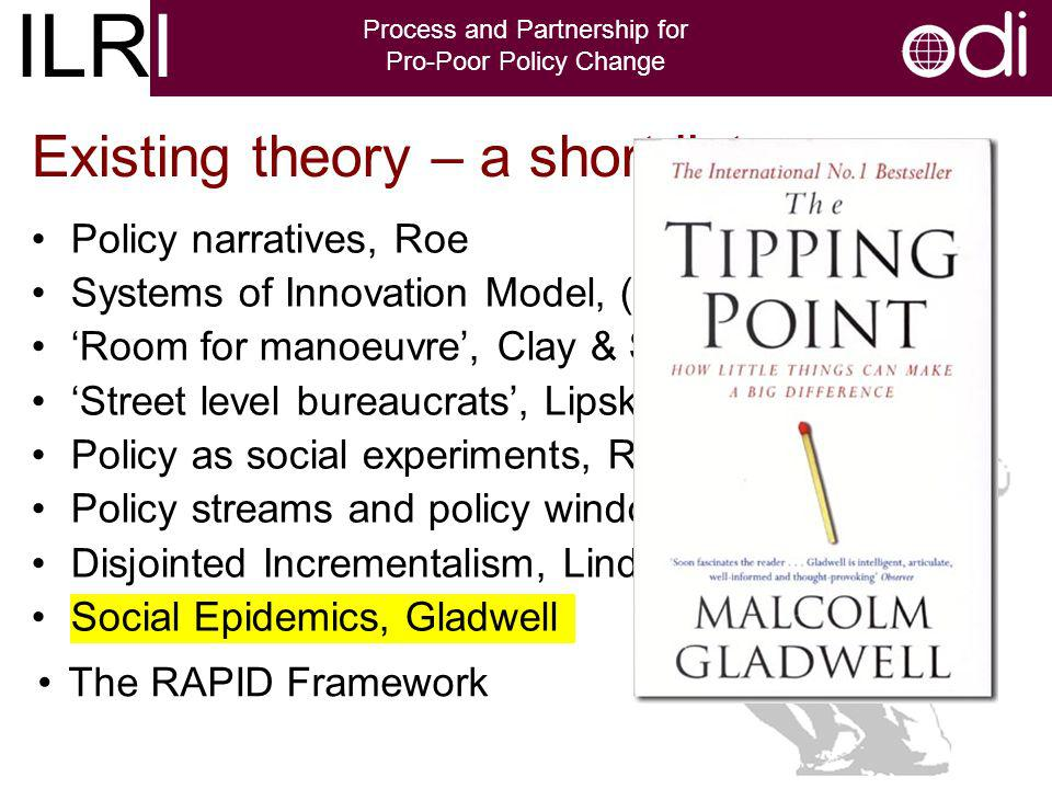ILRI Process and Partnership for Pro-Poor Policy Change Existing theory – a short list Policy narratives, Roe Systems of Innovation Model, (NSI) Room for manoeuvre, Clay & Schaffer Street level bureaucrats, Lipsky Policy as social experiments, Rondene Policy streams and policy windows, Kingdon Disjointed Incrementalism, Lindblom Social Epidemics, Gladwell The RAPID Framework