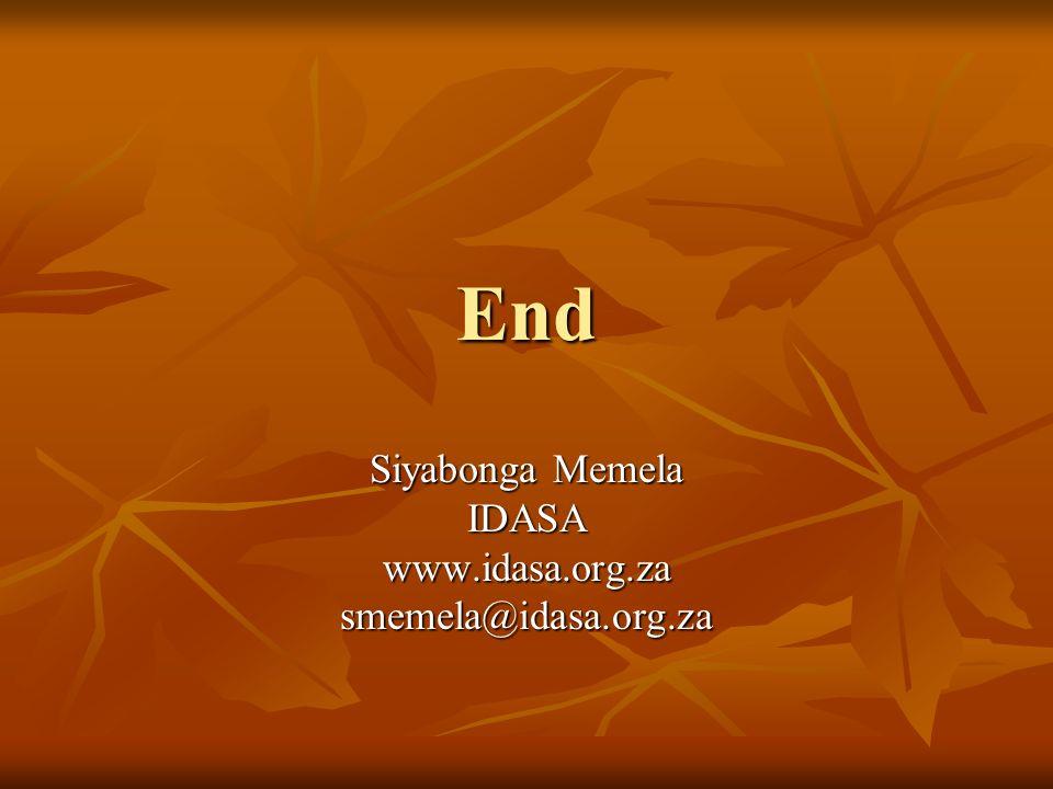 End Siyabonga Memela IDASAwww.idasa.org.zasmemela@idasa.org.za