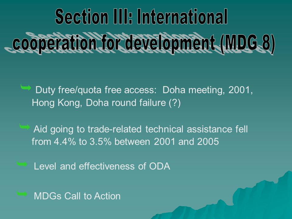 Duty free/quota free access: Doha meeting, 2001, Hong Kong, Doha round failure (?) Aid going to trade-related technical assistance fell from 4.4% to 3