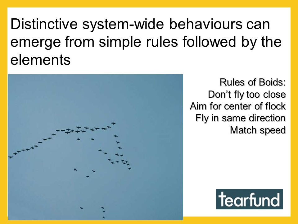 Distinctive system-wide behaviours can emerge from simple rules followed by the elements Rules of Boids: Dont fly too close Aim for center of flock Fly in same direction Match speed