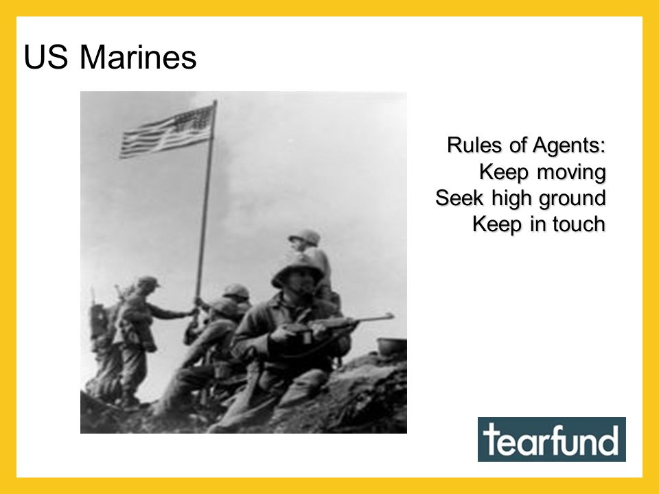 Rules of Agents: Keep moving Seek high ground Keep in touch US Marines