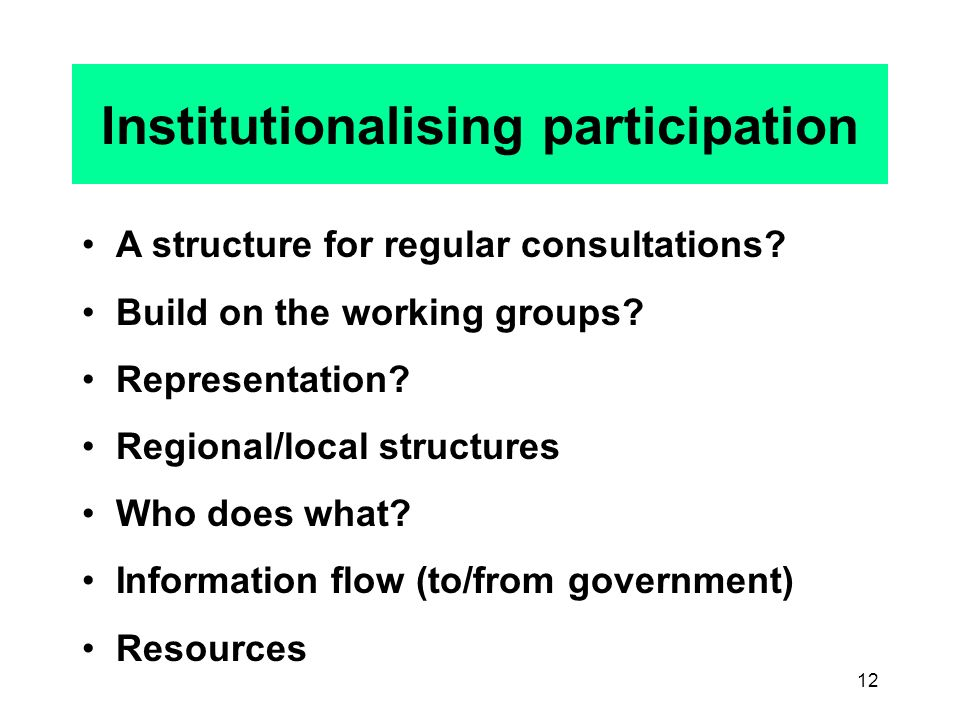 12 Institutionalising participation A structure for regular consultations.
