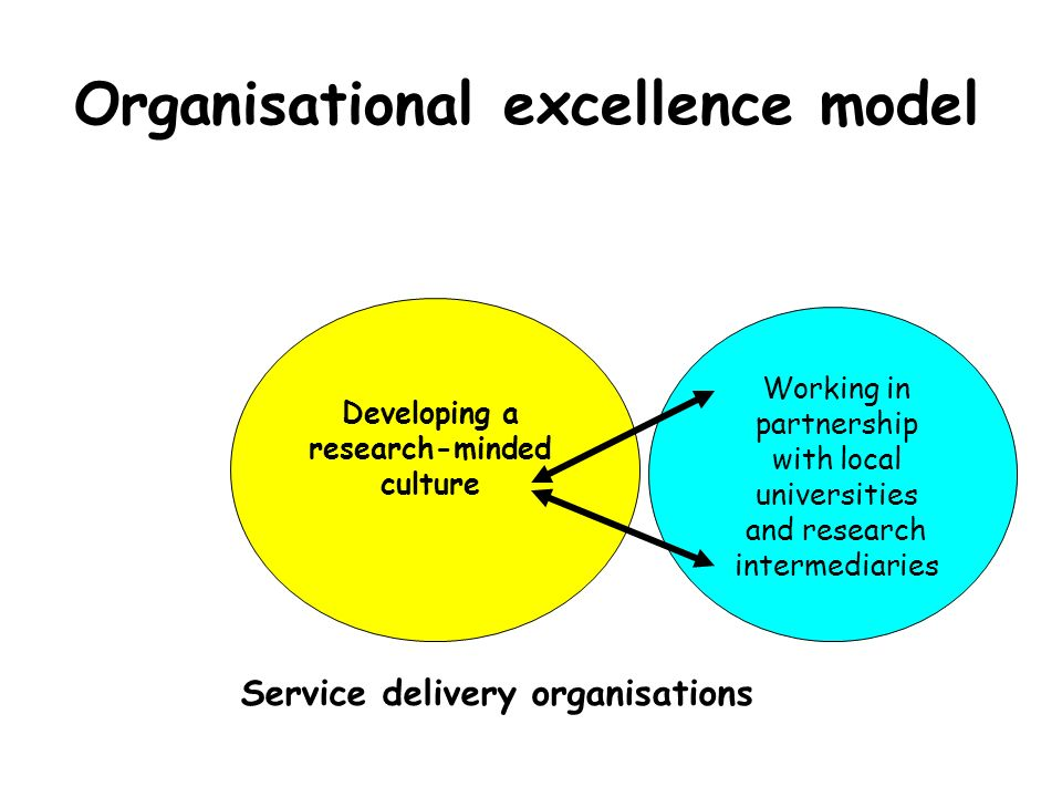 Service delivery organisations Organisational excellence model Developing a research-minded culture Learning from existing research Commissioning loca