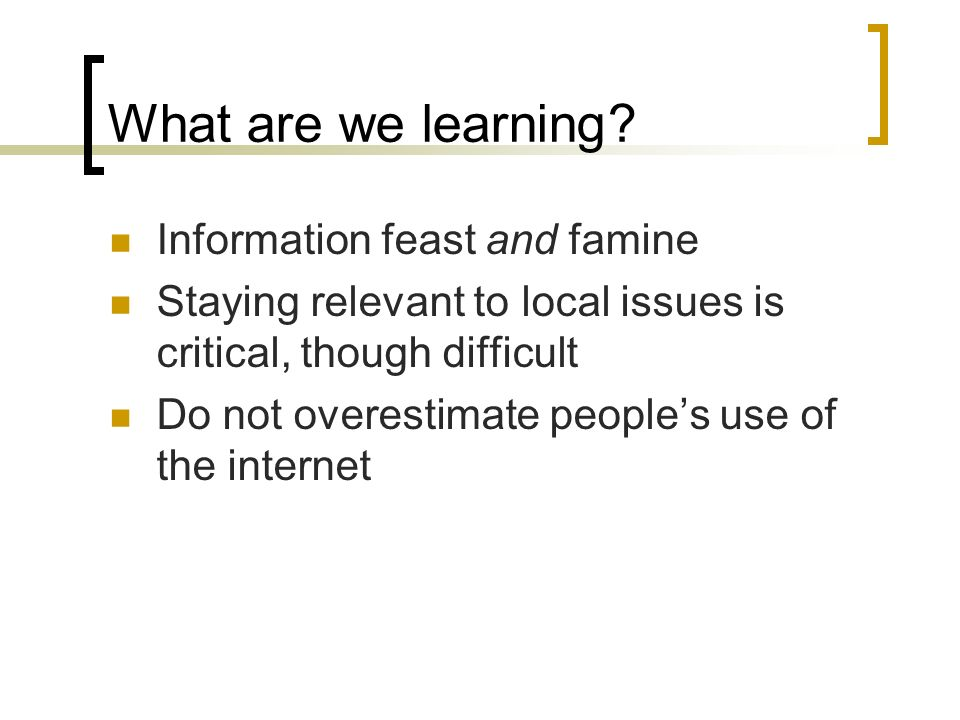 What are we learning.